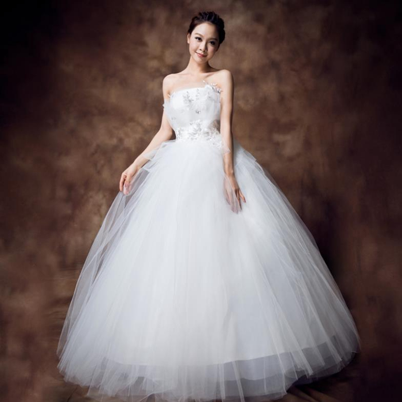 Hot sale princess floor length applique strapless for Floor length lace wedding dress