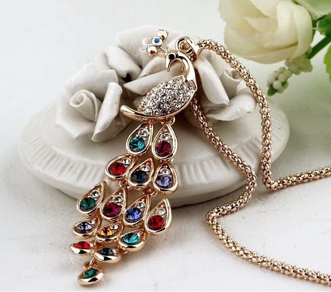 Jewelry Elegant Opal Peacock Shaped Long Women Ladies Costume Sweater Chains Necklaces Pendant - Hong Kong Westline International Trade Co., Ltd. store