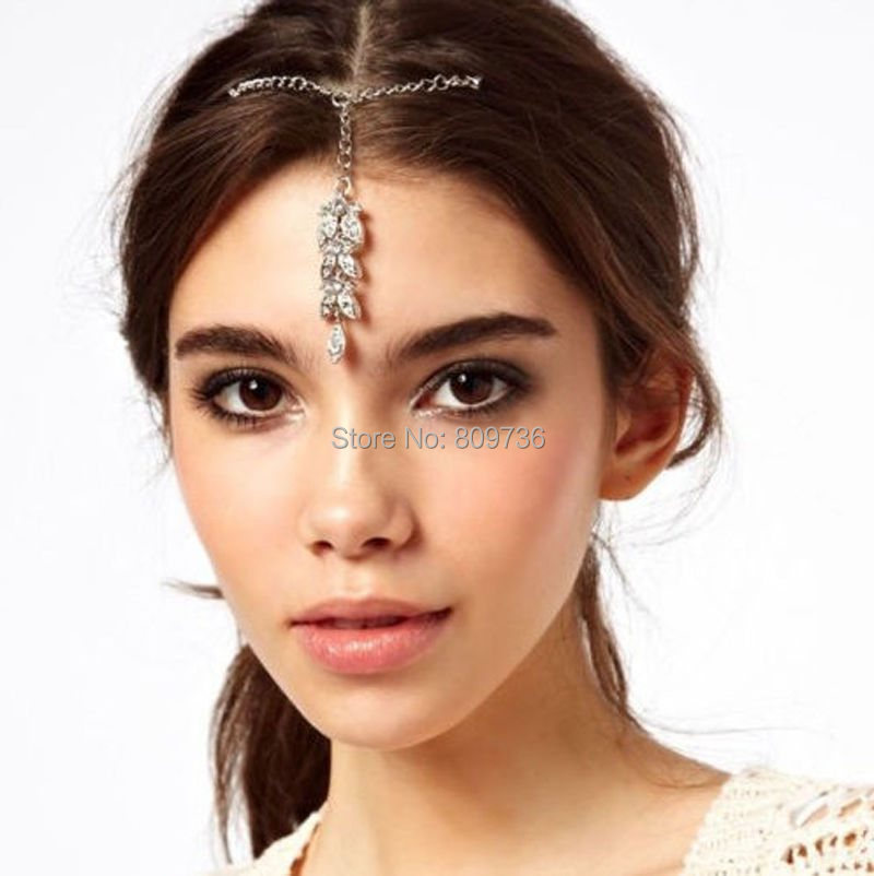1PC Boho Style Lady Flower Crystal Bindi Hair Tikka Clip Indian Head Jewelry For Party Wedding Dance Gift Drop Ship(China (Mainland))