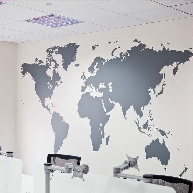 Fashion Large Size World Map Vinyl Wall Decal Map Of World Mural Art Office Wall Sticker Living Room Office Home Decoration
