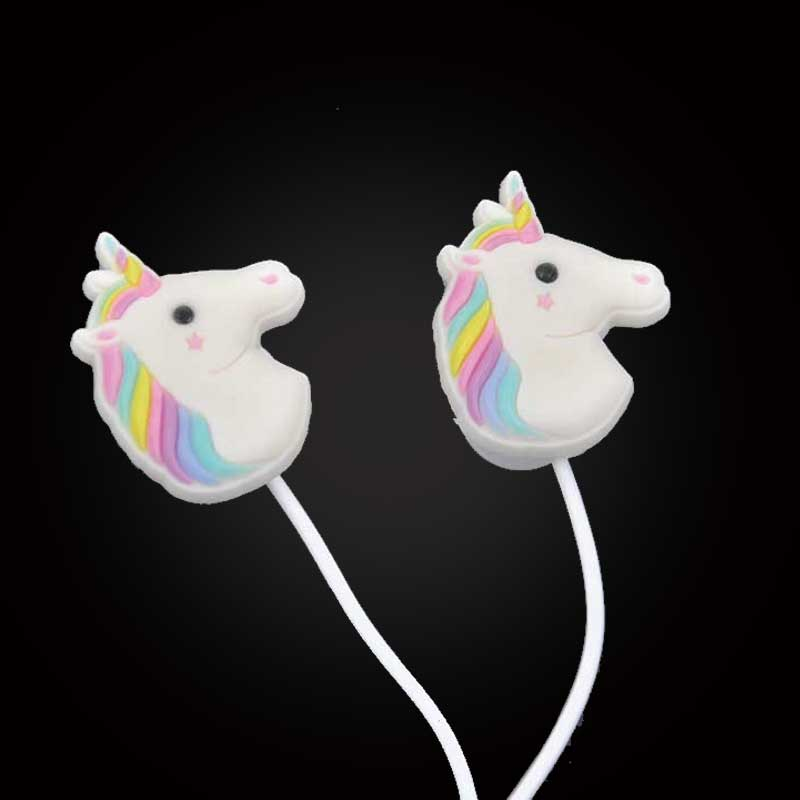 Special Unicorns Cartoon Earphones Colorful Rainbow Horse In-ear Earphone 3.5mm Earbuds With Mic Mini Earphone For Smartphone(China (Mainland))