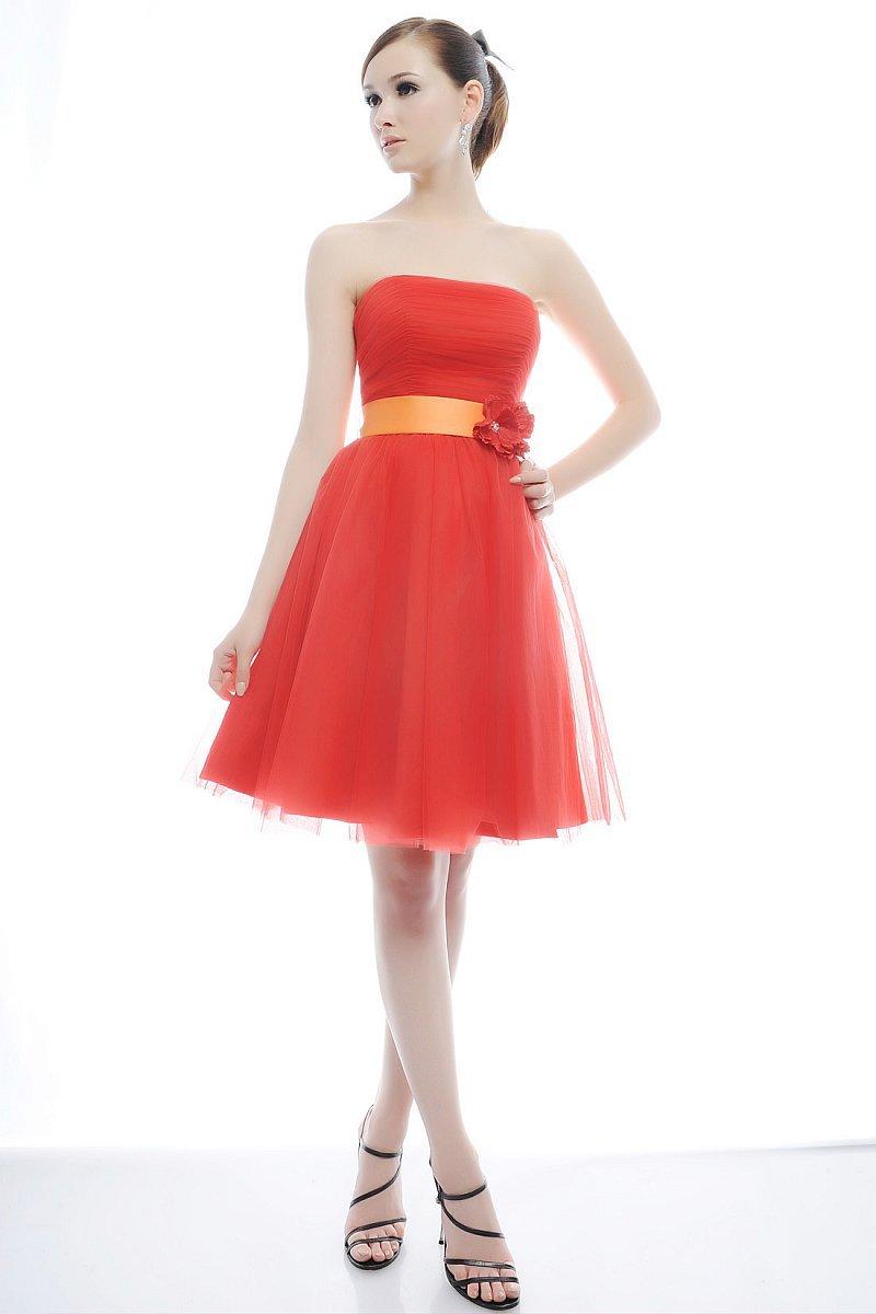 Bright Orange Bridesmaid Dresses