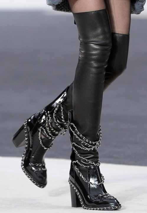 2016 Top Brand Women Boots With Chain Black Long Flexible Microfiber Stocking Shoes Patent Leather Women Boots Free Ship(China (Mainland))