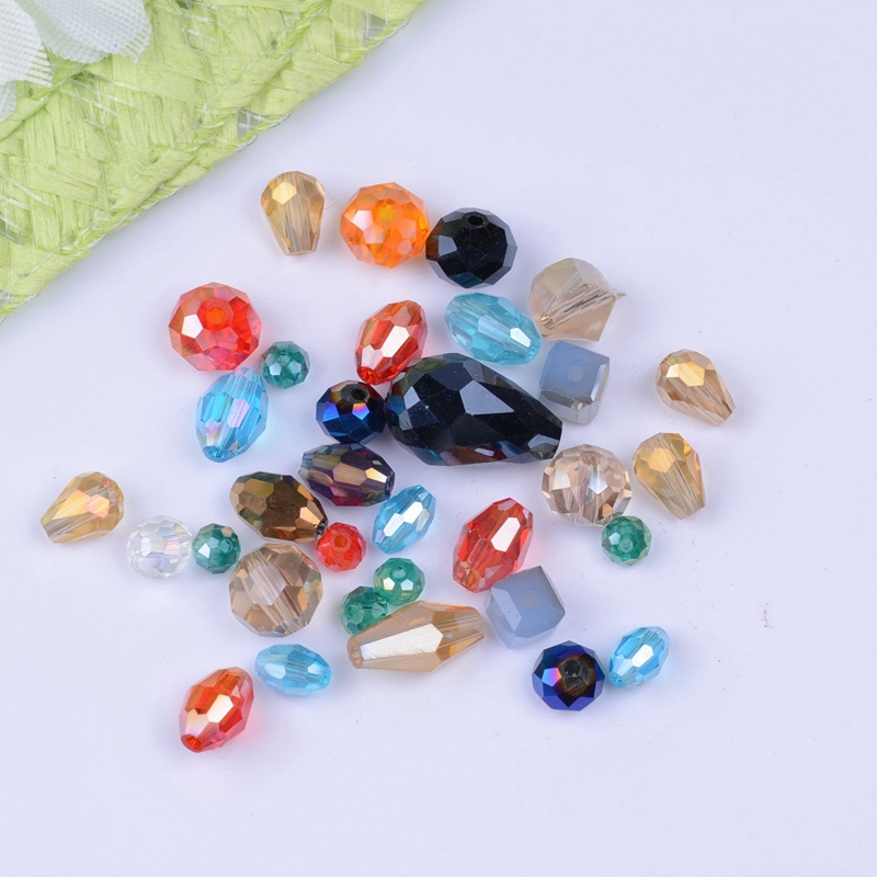 50g mixed styles mixed colors Assorted china top AAA assorted crystal beads Faced glass beads crystal beads(China (Mainland))