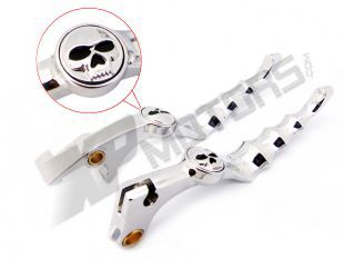 A Pair Aluminum Unbreakable CHROME SKULL ZOMBIE BRAKE CLUTCH LEVER Fit For 2002 2003 2004 2005 2006 2007 Honda CB919 NC700 S/X(China (Mainland))