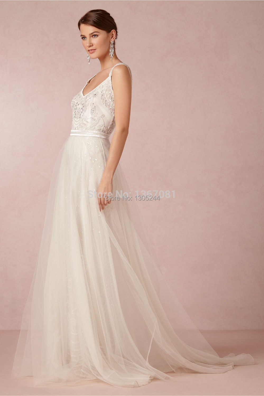 Free shippingunique wedding dresses v neck spaghetti for How to get a free wedding dress
