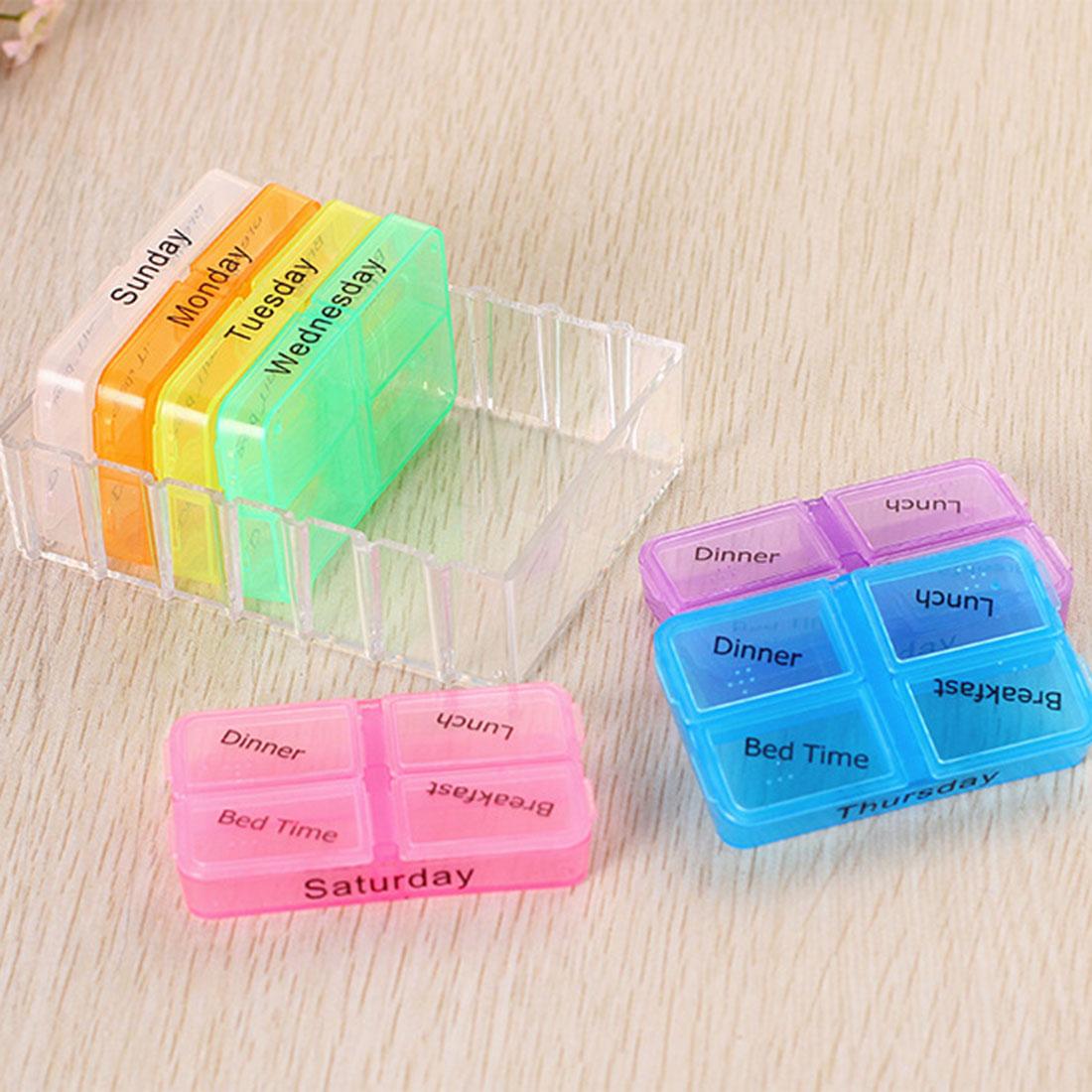 Wholesale Portable Medicine Container Case 7Days Storage Pill Box Health Care Organizer(China (Mainland))