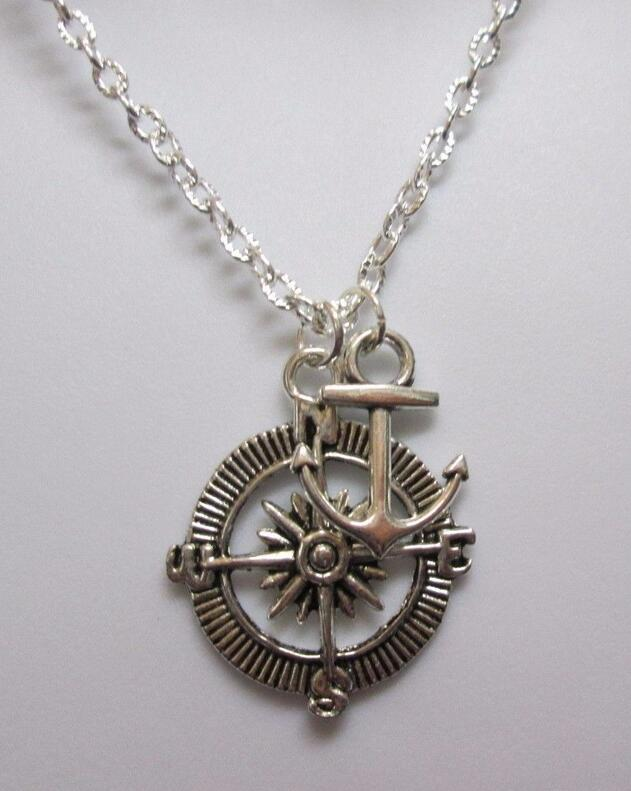 Fashion Jewelry Compass & Anchor Nautical Ocean Charm Collars Chain Necklace Jewelry For Women Gift 1Pcs/lot(China (Mainland))