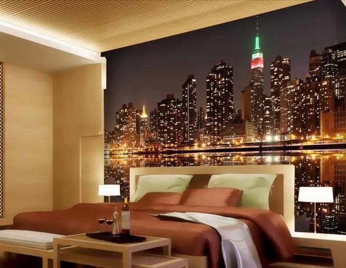 3d wallpaper bright city lights dim night tv ktv bar large - Tapices para sofas ...
