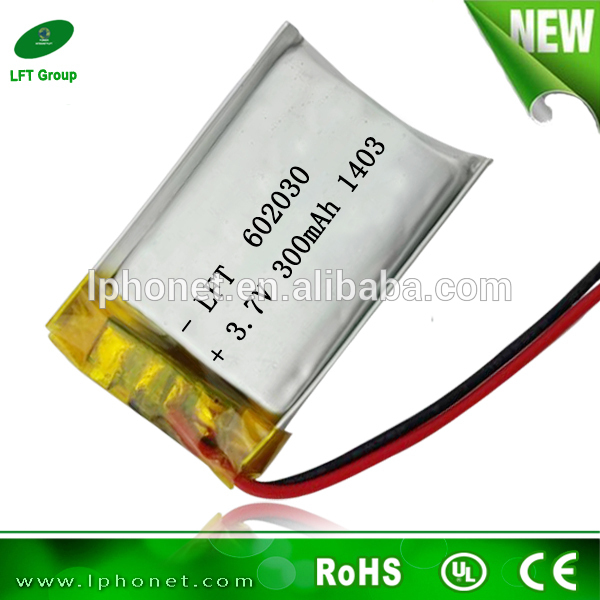 A quality 3.7v 300mah li-ion rechargeable battery 602030 mp3 battery from china manufacture(China (Mainland))