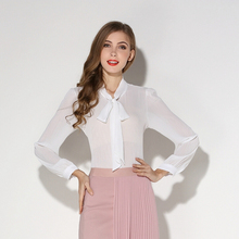 2016 spring and summer style fashion bow lace transparent chiffon shirt women tops loose long sleeve white blouse gray(China (Mainland))