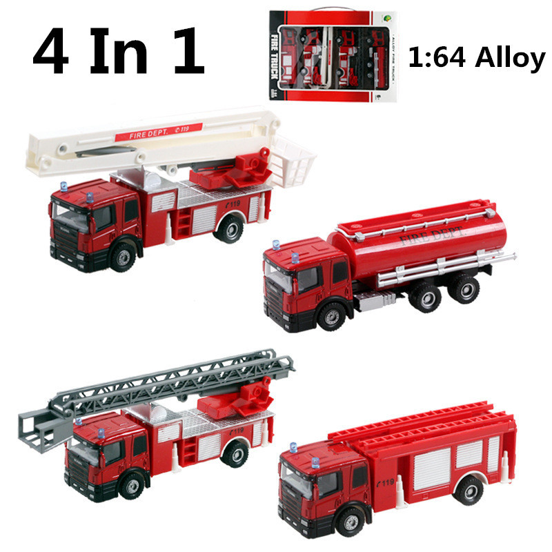 Discount 4pc/lot 1:64 alloy fire truck, Wheel Toys, model cars, children's gifts, Water tanker ,Ladder truck,free shipping(China (Mainland))