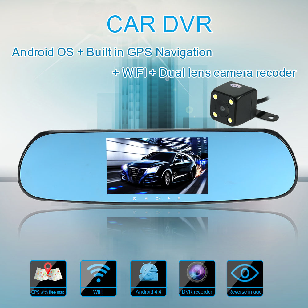 """5"""" 1080P Android Smart System Car Rearview Mirror Built in GPS Navigation WIFI Dual Lens Car DVR Camera Recorder with Free Map(China (Mainland))"""
