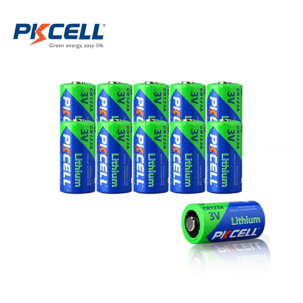 10 X PKCELL 3V CR123A CR123 123A CR17345 KL23a VL123A DL123A 5018LC EL123AP SF123 Li-ion Non Rechargeable Lithium Battery(China (Mainland))