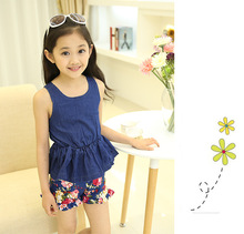 2016 new summer fashion cool children's clothing sets girls kids sport suit print flower short baby girl cute style kids clothes(China (Mainland))
