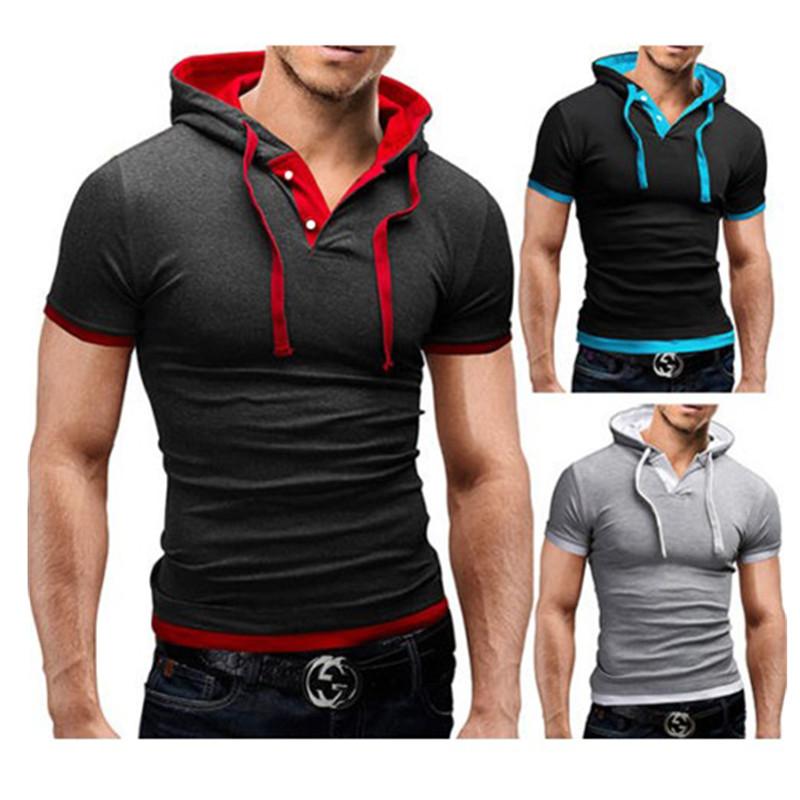Summer Men t Shirts 2016 New Fashion Tops Tees Hooded Short Sleeve T Shirt Mens Casual Tee Shirts hombre t-shirts 8 colors(China (Mainland))