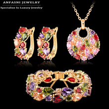 ANFASNI Fashion Christmas Gift Women Wedding Set Gold Plated Zirconia Earring/Necklace/Bracelet Jewelry Set CST0029-C(China (Mainland))