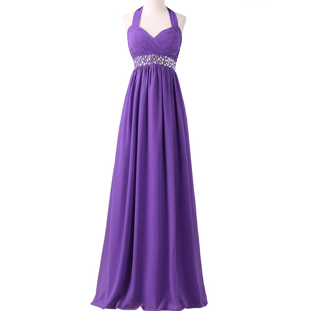 Grace karin halter cheap purple long brides maid dresses for Cheap wedding reception dresses for bride