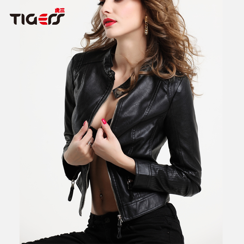 Faux Leather Jacket Women 2015 Famous Brand Quality Black Synthetic Sheep Skin Soft PU Coat Female Motorcycle Jackets Size S-3XL(China (Mainland))