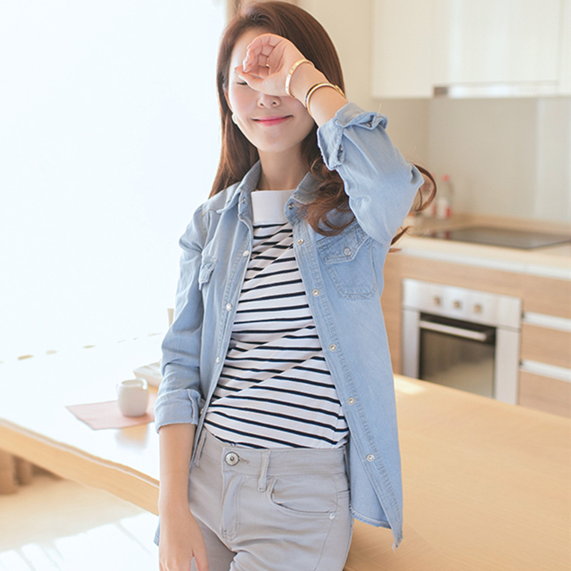 2016 new spring denim shirt womens plus size blue color for Blue denim shirt for womens