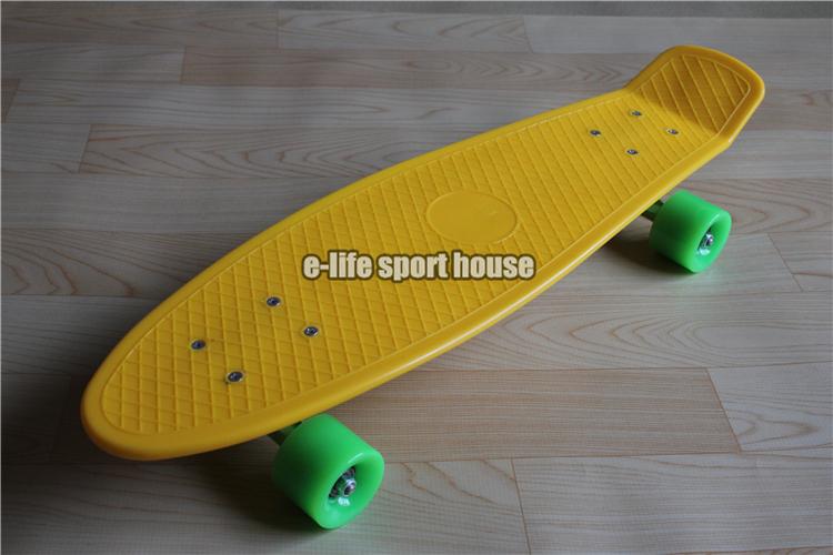 Free Shipping Penny Skateboard Yellow Deck & Green Trucks & Wheels Longboard Banana Penny Style 27'' inch Long Skateboard(China (Mainland))