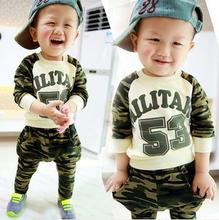 spring clothing new 53 camouflage suit baby boys and girls children's letters T-shirt + casual pants set(China (Mainland))