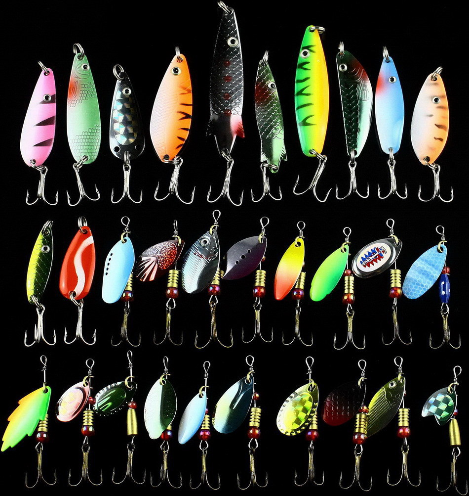 Hot 30pcs/lot Fishing Lure Mixed color/Size/Weight/ Hook/Diving depth Metal Spoon Lures hard bait fishing tackle Free Ship(China (Mainland))