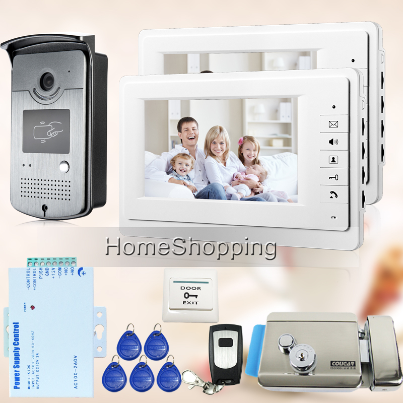 "FREE SHIPPING 7"" Video Intercom Door Phone System + 2 Monitor 1 RFID Access Contdrol Doorbell Camera + E-Lock In Stock Wholesale(China (Mainland))"