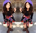 2016 Spring Summer New fashion Childre s Clothing Set Girls Strapless Long Sleeve T shirt Floral