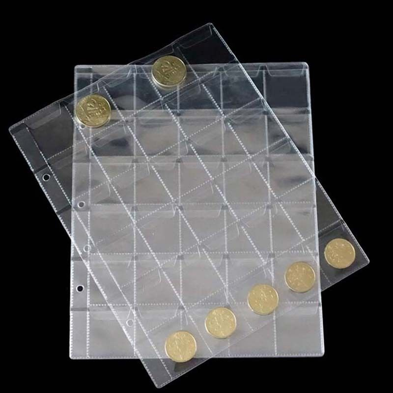 30 Pockets Coin Album Page Folder Clear Pockets Coin Storage Album Pages 252x200mm(China (Mainland))