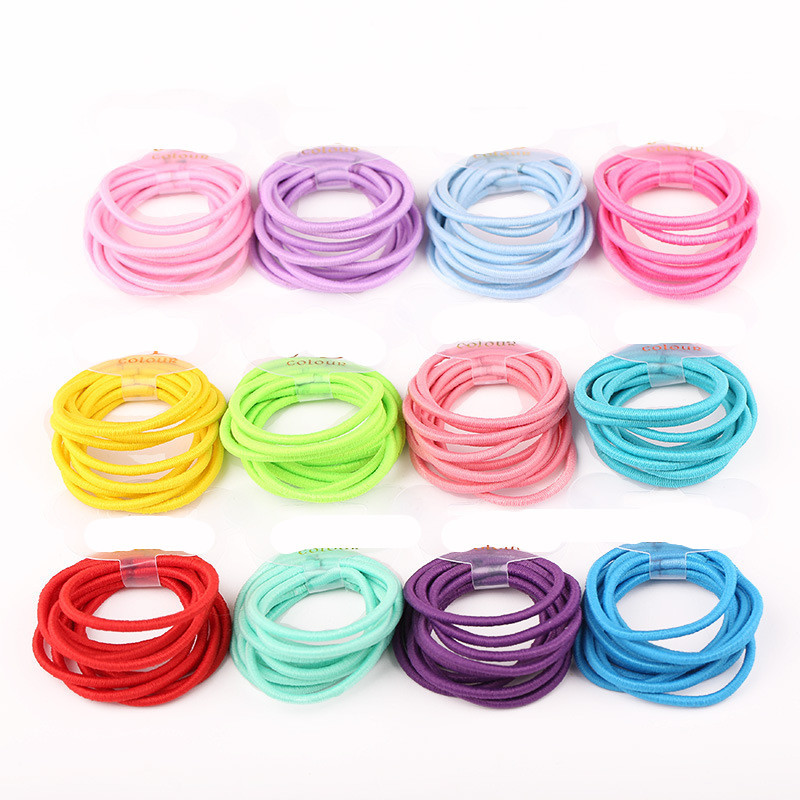 100pcs/lot random color Baby Girl Kids Tiny Hair Accessary Hair Bands Elastic Ties Ponytail Holder 6009(China (Mainland))
