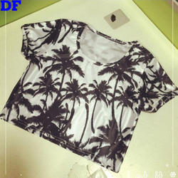 2015 Fashion Coconut Print Crop Top T Shirt Women Short Sexy Camisetas Y Tops New Harajuku Women`s T Shirt Tops Tees Hot Sale DF