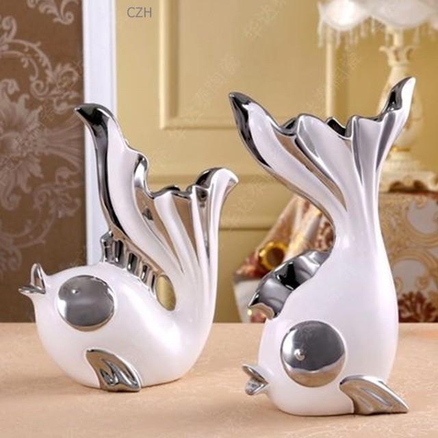 Romantic Ceramics Kissing Fish Figurines Vases Porcelain