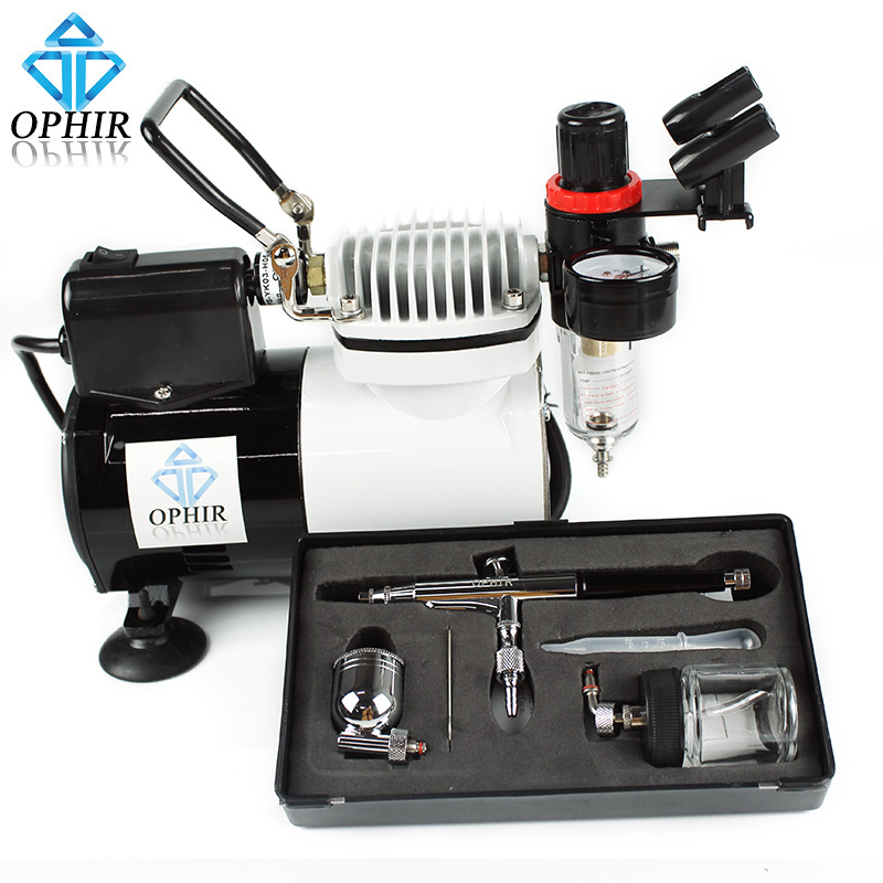 OPHIR Portable Pro Airbrush Kit with Air Compressor for Model Car Painting Hobby Makeup Body Tattoo Cake Decorating_AC114+AC005