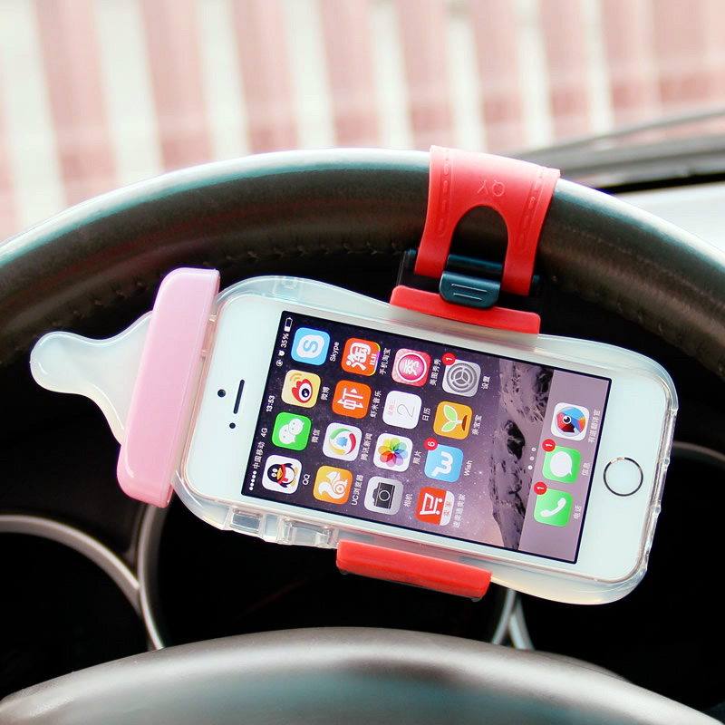 Universal Car Steering Wheel Mount Holder Rubber Band For iPhone Car Holder for iPod Support GPS Accessories Mobile Phone Holder(China (Mainland))