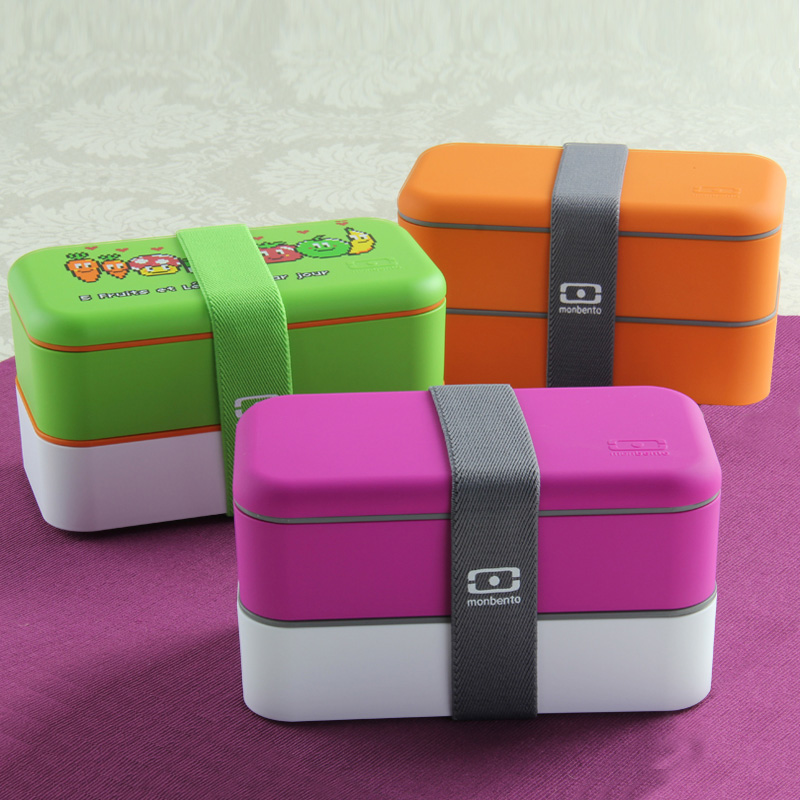 Free shipping Easy home monbento fashion double layer lunch box pail lunch box microwave oven(China (Mainland))