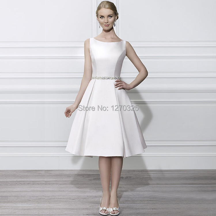 White Satin Cocktail Dress - Ocodea.com