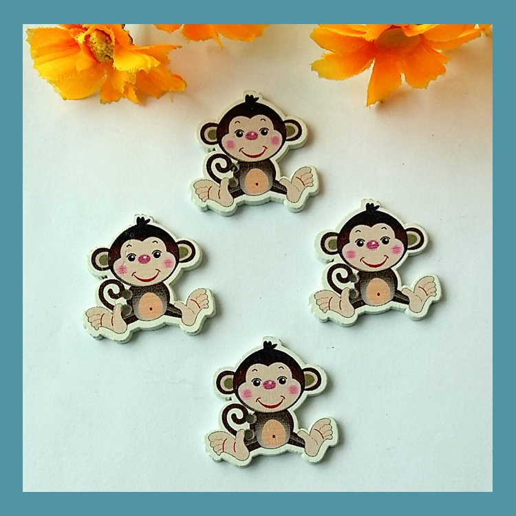 30PCS Bulk Cute Monkey Wooden Decorative Buttons For Crafts 2 Holes Sewing Scrapbooking Accessories Botoes Artesanato Botones(China (Mainland))