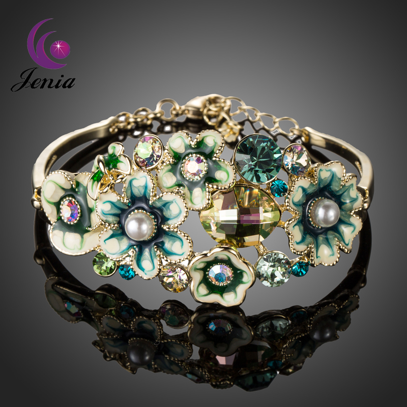 JENIA Luxury Oil Painting Pearls Bangle Bracelet for Women Inlaid SWA Crystals XB063(China (Mainland))