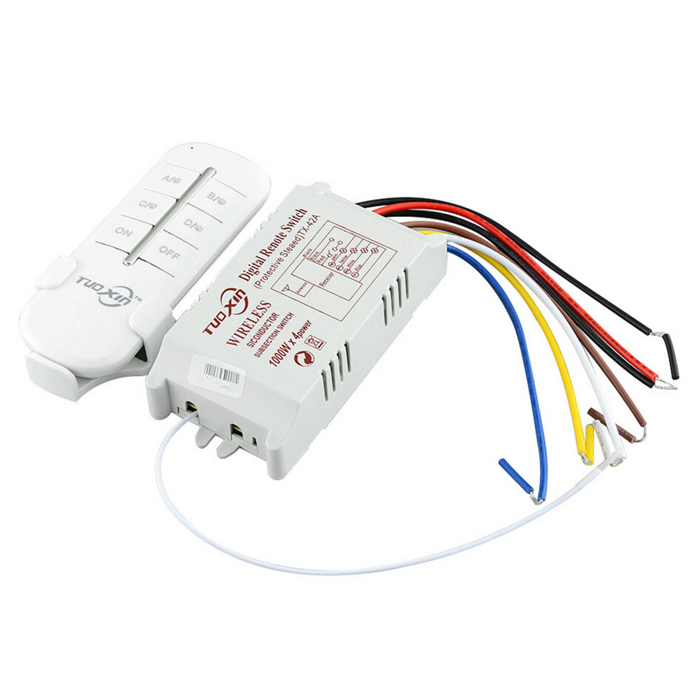 4 Way Channel Remote Wireless Switch 220V ON/OFF For Light Lamp Splitter With Digital Transmitter #T-004#(China (Mainland))