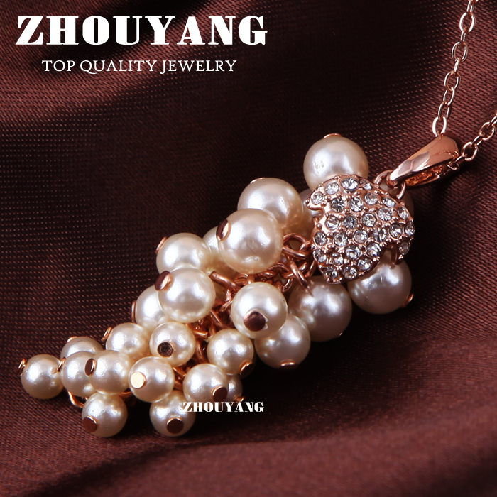 ZYN072 Imitation Pearl Grapes Necklace 18K Champagne Gold Plated Fashion Jewellery Nickel Free Pendant Crystal SWA Elements<br><br>Aliexpress