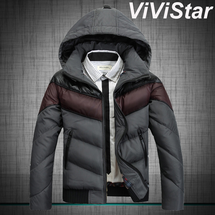 2014 New Arrival Winter Snow Extra Heavy Men Down Jackets Short Style Patchwork Detachable-Hood Outwear M0096