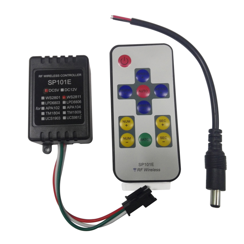 Mini Wireless Digital led pixel module strip WS2811 WS2812 WS2812B led controller with rf remote control(China (Mainland))