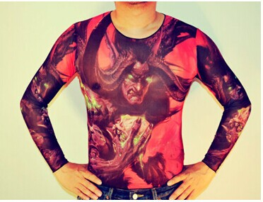 Free Shipping 2016 New Fashion Cool Men Punk Mesh Fake Tattoo T- Shirt With Long Sleeves,33 Design(China (Mainland))