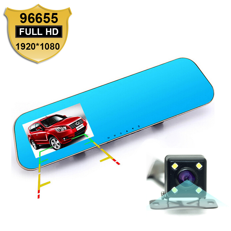 Novatek 96655 1080P Car Blue Rearview Mirror Camera Dvr Full HD Digital Video Recorder With Two Cameras Auto Dash Cam Black Box(China (Mainland))