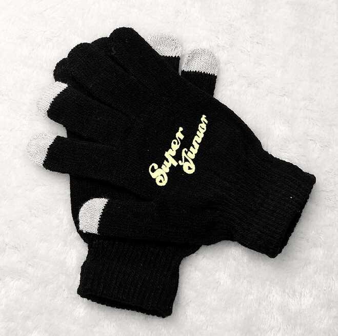 Kpop super junior printing black luminous gloves korean style touch screen winter gloves for men women unisex(China (Mainland))