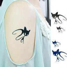 HC-13 Sex Products Waterproof Fake Tattoo Women Sexy Legs Fresh Black Lovely Cat Temporary Tattoo Sticker Body Art Flash Tattoo