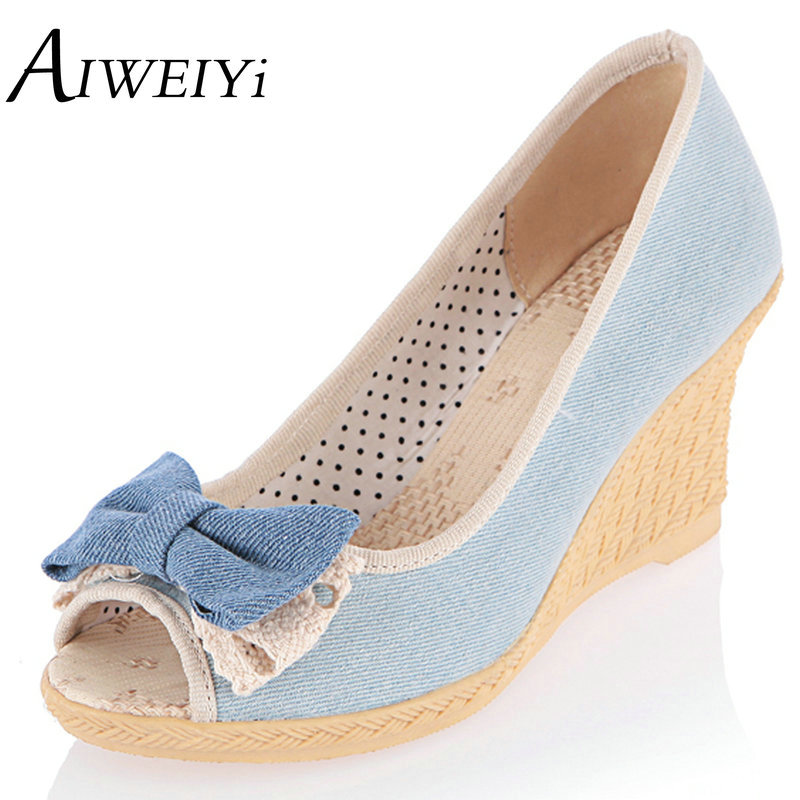 AIWEIYi Women Shoes 2017 Hot Sale Wedges Shoes Women High Heeled Sandals Denim Sweet Bow tie Peep Toe Jelly Shoes Rubber Pumps(China (Mainland))