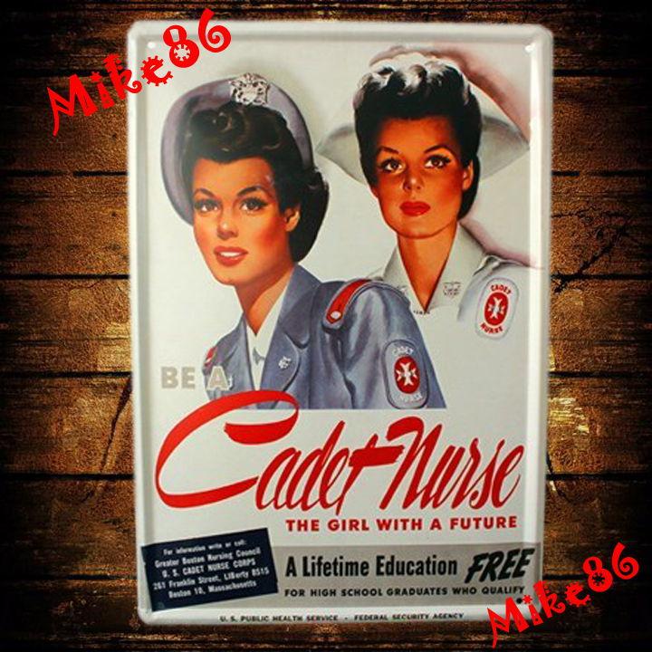 [ Mike86 ] Cadet Nurse Education Metal Poster Girl Future Vintage Wall Decor Retro Bar Tin Sign Art A-530 Mix Order 20*30 CM(China (Mainland))