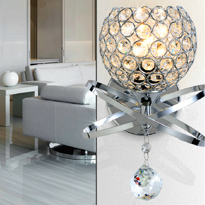 Gold Ball Wall Lights : Modern Crystal ball Wall Lamp bedside Bedroom lamp Stair wall Light E14 sconce Led gold silver ...